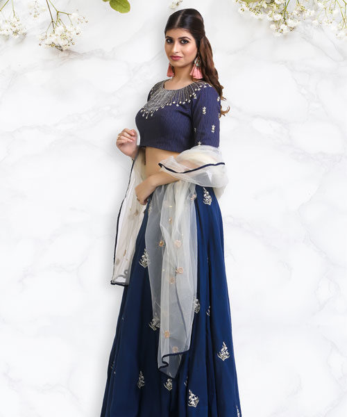 Blue Vertical Lined Blouse and Embroidered Lehenga-LA003
