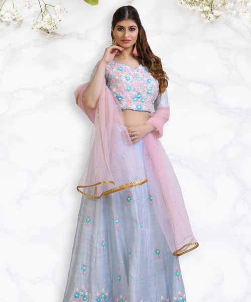 Powder Blue and Baby Pink Resham Embroidered Lehenga Blouse-LA002