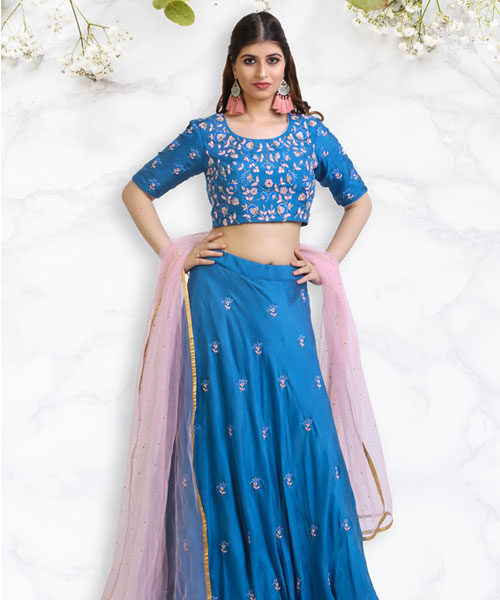 Cobalt Blue Blouse and Lehenga with Mirror Embroidery-LA005