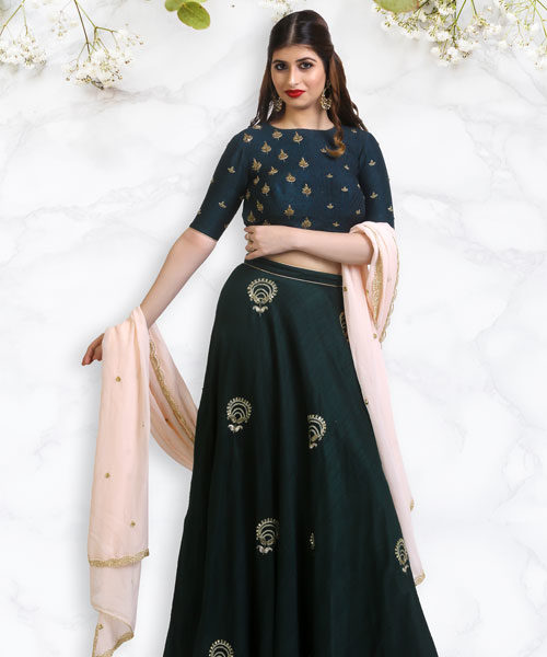 Bottle Green Raw Silk Lehenga with a Peach Dupatta-LA006