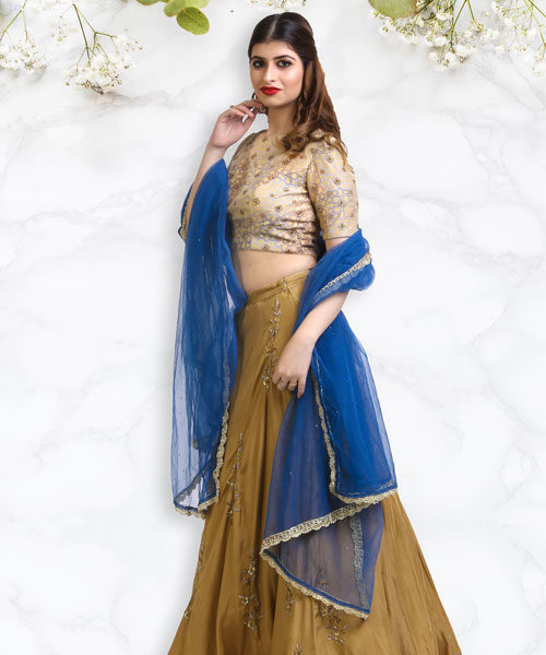 Beige Gold Silk Printed Blouse and Lehenga-LA007
